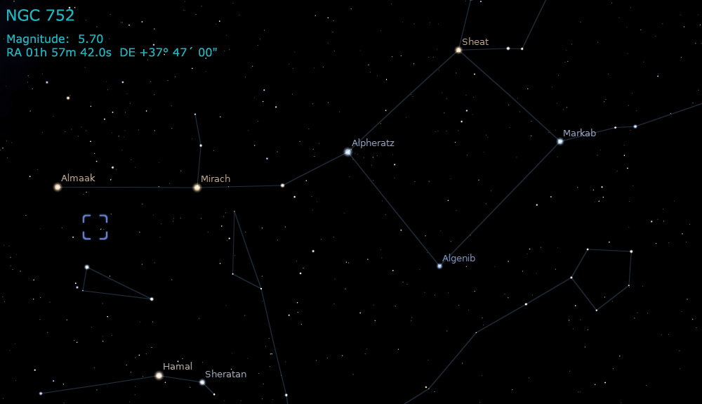 Caldwell 28 - C28 - NGC 752 - Open Cluster | Free Star Charts